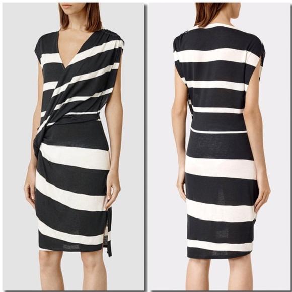 bcc69b3e ALL SAINTS Helix Black White Striped Dress